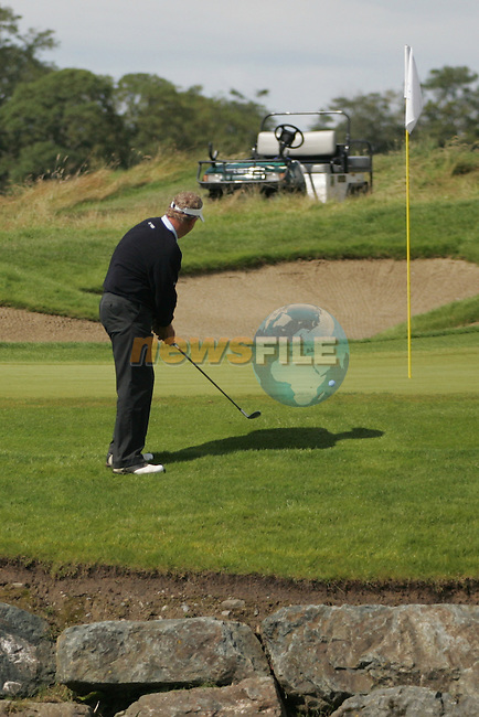 Colin Montgomerie chips to the 16th green in the final round of the European Open on the 8th of July 2007 at the K Club, Straffan, Co Kildare, Ireland. (Photo by Manus O'Reilly/NEWSFILE)