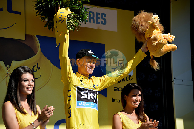 Christopher Froome (GBR) Team Sky wears the race leader's Yellow Jersey at the end of Stage 7 of the 2015 Tour de France running 190.5km from Livarot to Fougeres, France. 10th July 2015.<br /> Photo: ASO/P.Perreve/Newsfile