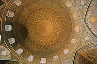 This is the inside of the dome of the Sheikh Lotfollah Mosque in Isfahan, Iran. Built by Shah Abbas I between 1602 and 1619, it is certainly the most exquisite mosque in Iran and has astonished and delighted travellers for centuries, including Robert Byron, who wrote lyrically of it in his 1937 masterpiece The Road to Oxiana.