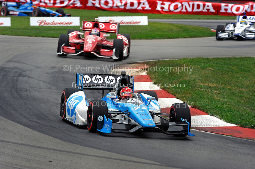 Simon Pagenaud (#77), Scott Dixon (#9), Sebastien Bourdais (#7) and Josef Newgarden (#67)