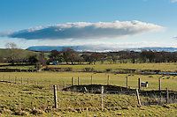 View with clouds looking towards Pendle Hill from Dinkling Green Farm, Whitewell, Clitheroe, Lancashire.