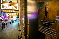 NEW YORK, NY - MARCH 13: A poster displaying informations about the pandemic  Covic-19 is seen outside a theater in Times Square as New York Is Shutting Down all Gatherings Over 500 People  due to Coronavirus in New York on March 13, 2020. in New York City. President Donald Trump declared a national state of emergency on Friday, More than 1,600 people have tested positive for the new coronavirus and 41 have died since the first case was reported in January. <br /> (Photo by Eduardo Munoz/ VIEWpress via Getty Images)