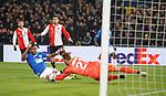 28.11.2019: Feyenoord v Rangers: Alfredo Morelos tests the keeper