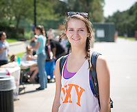 First-year Dana Tremallo '16 on the Quad and under the archway of Samuelson Pavilion, September 25, 2012. <br /> (Photo by Marc Campos, Occidental College Photographer)