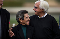 ARCADIA, CA - JANUARY 06: Bob Baffert hugs jockey Laffit Pincay Jr. after winning the Sham Stakes at Santa Anita Park on January 06, 2018 in Arcadia, California. (Photo by Alex Evers/Eclipse Sportswire/Getty Images)