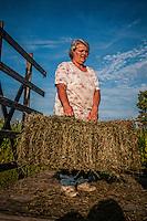 Connie  Bigham loads a trailer with fresh hay recently baled on her family's Westerville, OH, farm. Bigham's family has owned the farm since 1920 but recently signed a contingency contract to sell the land to a housing developer. It is the last working farm in the city.