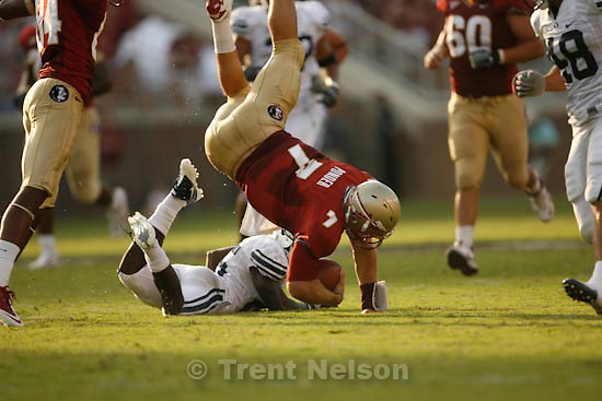 Trent Nelson  |  The Salt Lake Tribune. in the second half, BYU vs. Florida State, college football Saturday, September 18, 2010 at Doak Campbell Stadium in Tallahassee, Florida. christian ponder.