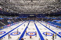 Glasgow. SCOTLAND.  General View of the &quot;Field of Play during the &quot;Round Robin&quot; Game. Le Gruy&egrave;re European Curling Championships. 2016 Venue, Braehead  Scotland<br /> Tuesday  22/11/2016<br /> <br /> [Mandatory Credit; Peter Spurrier/Intersport-images]