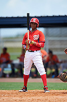 GCL Nationals designated hitter Juan Soto (25) at bat during a game against the GCL Astros on August 14, 2016 at the Carl Barger Baseball Complex in Viera, Florida.  GCL Nationals defeated GCL Astros 8-6.  (Mike Janes/Four Seam Images)
