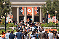 Incoming first-years make their way to Thorne Hall at the start of Occidental College's Fall Orientation for the class of 2021, Aug. 26, 2017.<br />