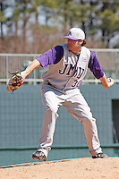 Jason Kuhn of James Madison University pitching during a game against UC Irvine at the Baseball at the Beach Tournament held at BB&T Coastal Field in Myrtle Beach, SC on February 28, 2010.