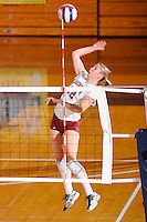 20 November 2008:  Denver outside hitter Holly Benson (12) hits a kill shot in the WKU 3-0 victory over Denver in the first round of the Sun Belt Conference Championship tournament at FIU Stadium in Miami, Florida.