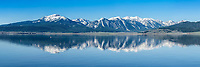 Centennial Range reflection panorama in Henrys Lake in eastern Idaho. <br />
