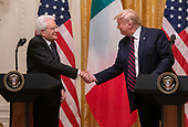 United States President Donald J. Trump, right, and President Sergio Mattarella of the Italian Republic, left, shake hands as they conduct a joint press conference in the East Room of the White House in Washington, DC on Wednesday, October 16, 2019.<br /> Credit: Ron Sachs / CNP