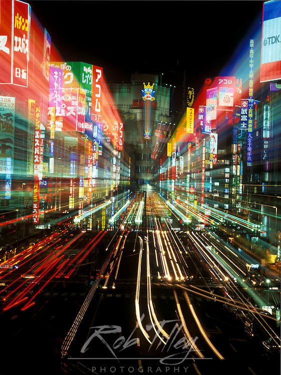 Asia, Japan, Tokyo, Shinjuku, Neon Lights (Zoom Blur)