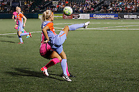Rochester, NY - Saturday Aug. 27, 2016: Abigail Dahlkemper, Rachel Daly during a regular season National Women's Soccer League (NWSL) match between the Western New York Flash and the Houston Dash at Rochester Rhinos Stadium.