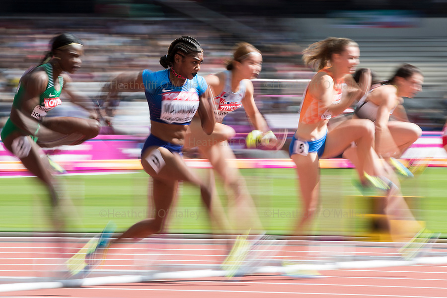 Mcc0078114 . Daily Telegraph<br /> <br /> DT Sport<br /> <br /> USA's Christina Manning in Heat 5 of the Women's 100m hurdles<br /> <br /> Day 8 of the IAAF World Championships at the London Stadium in Stratford .<br /> <br /> 11 August 2017