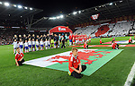Wales and Serbia line-ups before the start of the FIFA World Cup Qualifying match at the Cardiff City Stadium, Cardiff. Picture date: November 12th, 2016. Pic Robin Parker/Sportimage