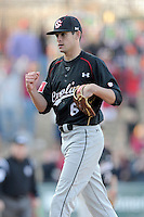 Closing pitcher Joel Seddon (6) of the South Carolina Gamecocks pumps his fist after the final out in the Reedy River Rivalry game against the Clemson Tigers on March 1, 2014, at Fluor Field at the West End. South Carolina won, 10-2. Seddon got the save. (Tom Priddy/Four Seam Images)