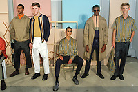 "Models pose in outfits from the Maiden Noir Spring Summer 2018 ""Return To Stone Garden"" collection by Nin Truong, for New York Mens Day at Dune Studios on July 10, 2017; duing New York Fashion Week: Mens Spring Summer 2018."