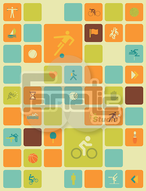 Illustration of sports icons over colored background