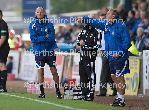 Kilmarnock v St Johnstone...11.08.13 SPFL<br /> Killie boss Allan Johnston and asst Sandy Clark<br /> Picture by Graeme Hart.<br /> Copyright Perthshire Picture Agency<br /> Tel: 01738 623350  Mobile: 07990 594431
