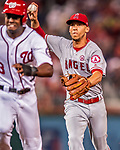 15 August 2017: Los Angeles Angels infielder Andrelton Simmons gets Washington Nationals outfielder Michael Taylor caught in a rundown during the 4th inning at Nationals Park in Washington, DC. The Nationals defeated the Angels 3-1 in the first game of their 2-game series. Mandatory Credit: Ed Wolfstein Photo *** RAW (NEF) Image File Available ***