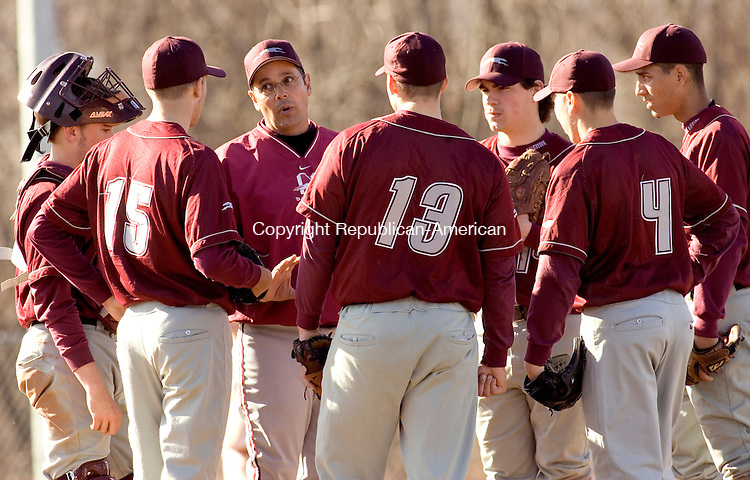 WOODBURY, CT--19 APRIL 2007--041907JS08-Naugatuck head coach Tom Deller talks with his team after Wolcott tied the game during their game Thursday at Wolcott High School.<br /> Jim Shannon / Republican-American