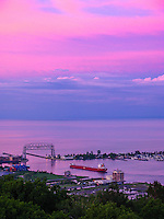 """Duluth Harbor Under a Pink Sky""<br />