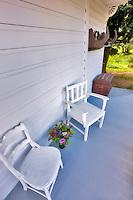 Chairs on porch at Hulda Klager Lilac Gardens, Woodland, Washington
