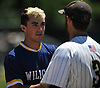 Brian Morrell #23, Shoreham-Wading River pitcher, left, shakes hands with Jimmy Joyce #3 of Wantagh after the Class A varsity baseball Long Island Championship at SUNY Old Westbury on Saturday, June 3, 2017.