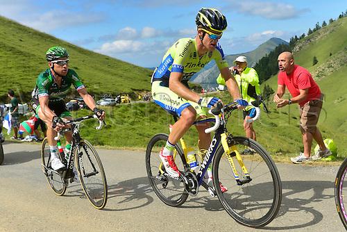 22.07.2014. Carcassonne to Bagnères-de-Luchon, France. Tour de France cycling championship, stage 16.   ROGERS Michael (AUS - Team TINKOFF-SAXO) and VOECKLER Thomas (FRA - Team Europcar) ascend the Port de Bales