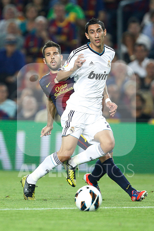Barcelona's Jordi Alba and Real Madrid's Angel di Maria during la Liga match on october 7th 2012. ..Photo: Cesar Cebola  / ALFAQUI