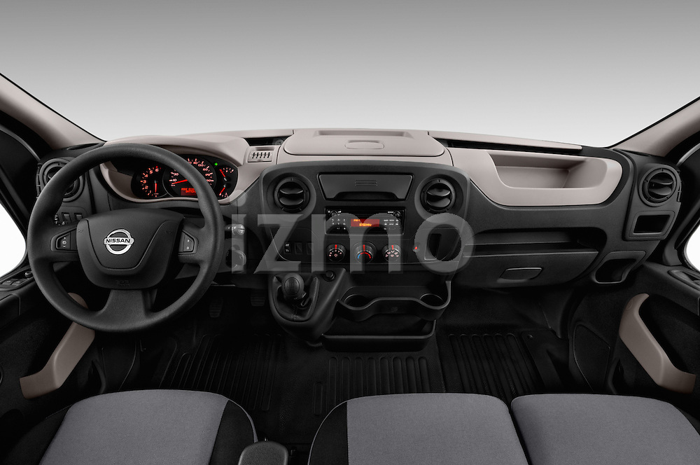 Stock photo of straight dashboard view of 2016 Nissan NV400 Acenta 4 Door Cargo Van Dashboard