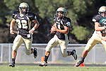 Palos Verdes, CA 10/08/10 - Ryan Sawelson (Peninsula #32) and Brandon Canky (Peninsula #11) in action during the South Torrance Spartans vs Peninsula Panthers Varsity football game at Palos Verdes Peninsula High School.