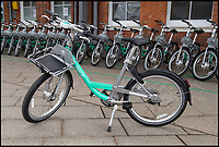 BNPS.co.uk (01202 558833)<br /> Pic: PhilYeomans/BNPS<br /> <br /> Over a thousand bikes will deployed around the town.<br /> <br /> An innovative bike share scheme has been wheeled out in a popular seaside resort as part of a bid to reduce congestion.<br /> <br /> The Beryl Bikes, which can be hired through a smartphone app, will be dotted around designated bays in Bournemouth and Poole, Dorset.<br /> <br /> It is the first time cycling firm Beryl have offered a citywide bike-hire service and will aim to reduce traffic in the bustling coastal region.