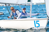 Skipper Sean Beaulieu,'18, and Crew Jen Ryan '19, work together as the Salve Regina Sailing Team practices in the Newport Harbor.