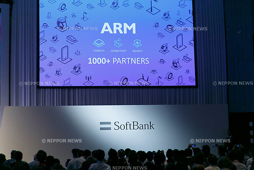 Logos of SoftBank (down) and ARM (up) companies on display during the SoftBank World 2017 conference on July 20, 2017, Tokyo, Japan. Masayoshi Son, Chairman and CEO of SoftBank introduced company's new partnersindeveloping artificial intelligence technology in various fields including transportation, communications and robotics. (Photo by Rodrigo Reyes Marin/AFLO)