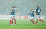 Solna 2014-08-13 Fotboll Allsvenskan AIK - Djurg&aring;rdens IF :  <br /> Djurg&aring;rdens Jesper Arvidsson gratuleras av lagkamrater efter Djurg&aring;rdens kvittering till 1-1 i den andra halvleken<br /> (Foto: Kenta J&ouml;nsson) Nyckelord:  AIK Gnaget Friends Arena Allsvenskan Derby Djurg&aring;rden DIF jubel gl&auml;dje lycka glad happy
