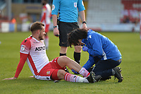 Luke Wilkinson of Stevenage receives treatment during Stevenage vs Bury, Sky Bet EFL League 2 Football at the Lamex Stadium on 9th March 2019