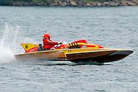 "E-207 ""Happy Budda"", 1968 Lloyd 280 class hydroplane..10-12 July, 2009, 100th Gold Cup, Detroit River, Detroit, MI USA..©2009 F.Peirce Williams, USA."