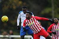 Ira Jackson of Folkstone and Jon Meluba of Enfield during Enfield Town vs Folkestone Invicta, BetVictor League Premier Division Football at the Queen Elizabeth II Stadium on 16th November 2019