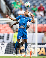 DENVER, CO - JUNE 19: Joris Marveaux #3 heads the ball during a game between Martinique and Cuba at Broncos Stadium on June 19, 2019 in Denver, Colorado.