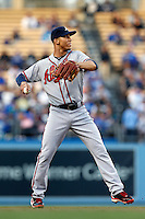 Andrelton Simmons #19 of the Atlanta Braves during a game against the Los Angeles Dodgers at Dodger Stadium on June 6, 2013 in Los Angeles, California. (Larry Goren/Four Seam Images)