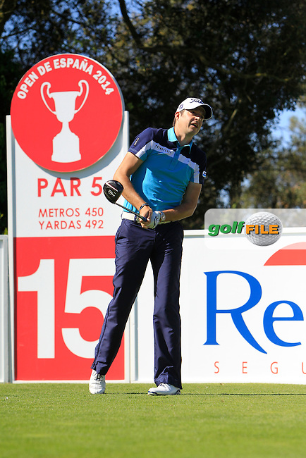 Simon Thornton (IRL) on the 15th tee during Thursday's Round 1 of The Open De Espana at The PGA Catalunya Resort. 15th May 2014.<br /> Picture:  Thos Caffrey / www.golffile.ie