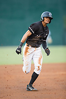 Joel Booker (23) of the Kannapolis Intimidators hustles towards third base against the Augusta GreenJackets at Kannapolis Intimidators Stadium on May 3, 2017 in Kannapolis, North Carolina.  The Intimidators defeated the GreenJackets 7-4.  (Brian Westerholt/Four Seam Images)