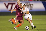 07 November 2008: Virginia Tech's Brittany Michaels (2) and Virginia's Colleen Flanagan (24). The University of Virginia and Virginia Tech played to a 1-1 tie after 2 overtimes at WakeMed Stadium at WakeMed Soccer Park in Cary, NC in a women's ACC tournament semifinal game.  Virginia Tech advanced to the final on penalty kicks, 2-1.