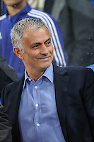 Jose Mourinho (Manager) of Chelsea smiles ahead of the UEFA Champions League match between Chelsea and Maccabi Tel Aviv at Stamford Bridge, London, England on 16 September 2015. Photo by David Horn.