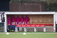 The home dug out before AFC Hornchurch vs Haringey Borough, Bostik League Division 1 North Football at Hornchurch Stadium on 10th February 2018