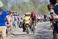 Jurgen Roelandts (BEL/Lotto-Soudal) over teh worst cobbles of the day at the Carrefour de l'Arbre sector<br /> <br /> 115th Paris-Roubaix 2017 (1.UWT)<br /> One Day Race: Compiègne › Roubaix (257km)